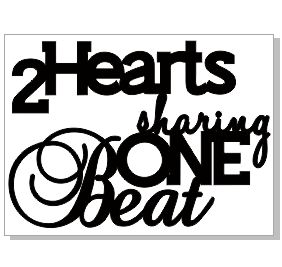 2 HEARTS SHARING ONE BEAT 73 X 55  BULK  PACK OF 5